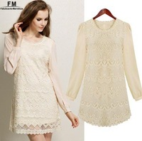 Dresses New Fahsion 2014 Lace Dress Chiffon Long Sleeves Tunic Beige Color Autumn-Summer Princess Dress S M L