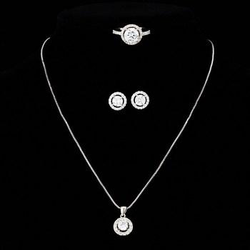 White Gold Plated Swiss Cubic Zirconia Diamond For Wedding Pendants Make with Swarovski Elements (JS012)  Fashion Jewelry Set