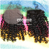 swiss top lace closure Brazilian virgin kinky Curly density 130% low to medium luster freestyle 8-24 inch available