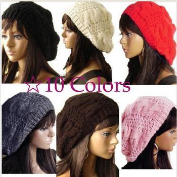 10X HK Free Shipping!! Hot Sale Fashion Handmade 10 Colors Warm Winter Women Beret Braided Baggy Beanie Wool Crochet Hat Ski Cap