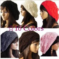 2014 Winter Women Girls Casual Baggy Beret Braided Beanie Wool Crochet Beanies Casquette Boina Feminina Ski Cap Hat for Women