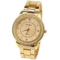 New 2013 Paidu women's double rhinestone trend watches unique vintage stainless steel belt watches  Relogio