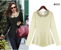 new fashion spring autumn knitted beige black long sleeve plus size blusas femininas 2014 casual t shirt women blouse