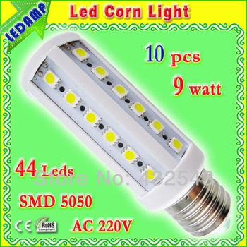 led bulbs e27 220v 9w 44leds SMD 5050 warm white 10 pcs / lot 360 degree aluminum