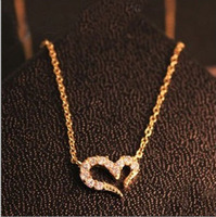 18K Gold Plated Heart Pendant Necklace For Women, Rhinestone Crystal Pendant SWA- Elements,Free shipping 200261