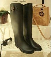 free shipping Fashion PVC knee-high women rain boots girl rainboots females waterproof rain boots gumboots wellies women