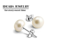 IDEARS/ new design 925 pure silver jewelry pearl stud earring pure silver stud earring female IDSE011