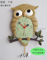 Double movements silent clock fashion poly resin home wall clock owl pendulum luminous wall clock