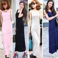 Free Shipping Stylish Ladies' Stretch Cotton Sleeveless Long Maxi Slim Long Dress 4 Colors