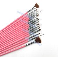 15pcs Nail Art Design Brushes UV Gel Set Painting Draw Pen Polish Red Handle Retail