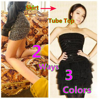Free Shippng 2013 Women Stylish Shine Gitter All-over Stretch Sequin Fitted Sexy Mini Tube Top Shorts Pants 2 Way Uses
