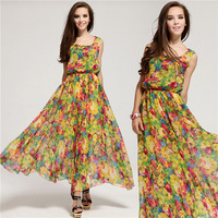 Free Shipping Floral Pattern Print Sleeveless High Waist Summer&Spring Beach Chiffon Maxi Dress Size S-XL MYB 56402