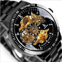 New ! Fashion & Luxury  IK Brand Automatic Mechanical Gold Skeleton Black Stainless Steel Men 's  Military Watch