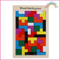 Wooden Tetris Puzzle Tangram IQ Brain Teaser Toy Free Shipping