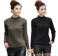 Free Shipping Hot Selling 2015 New Fashion Autumn Winter Women Wool Sweaters Elastic Turtleneck Long Sleeve Cardigan