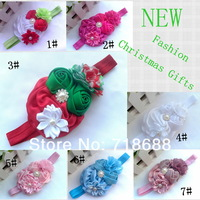 Baby girl Christmas headband silk satin rosette flower with Sparkling Rhinestone  Metal Button headbands 12pcs/lot