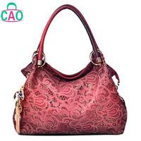 PU leather handbag fashion single shoulder hand carve patterns or designs on woodwork women messenger bag lady bags