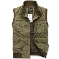 Free Shipping Men's 95% Cotton Casaul Vest Winter and autumn Army Vest for MAN