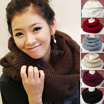 HK  2013 Super Warm! New Style Unisex Winter knitting Wool Collar Neck Warmer Woman Ring Scarf Shawl Beige Black for Xmas