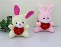 H-6cm  2 color  mini  plush doll love rabbit holding heart (beige,pink ) 40pcs/lot