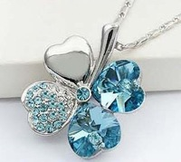 (Min order $10 mix) plated austrian crystal a clover lucky necklaces & pendants fashion jewelry free shipping