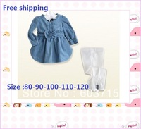 2013 NEW wholesale  girls autumn long sleeves two pcs set jeans dress +pant,children wear,kids suit,girls suit children set