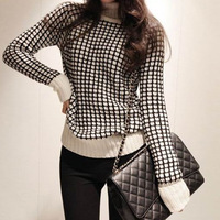 2013  lattice pullover turtleneck sweater turn-down collar outerwear sweater 6001Free shipping