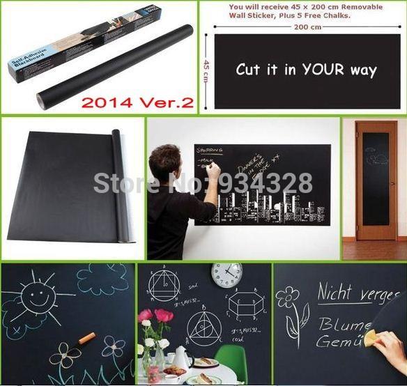 Home KId's Play Room Decoration Diy Cut Random Chalk Board Blackboard Sticker Removable Vinyl Wall Decal with 5 Free Chalks(China (Mainland))