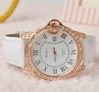 2014 New Arrive Belt Quartz WristWatch Candy 5 Color Leather Women Watch Rhinestone Top Brand Wholesale