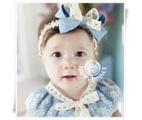 Wholesale children blue lace bow hair band hair headwear baby headdress flower girl's hair band