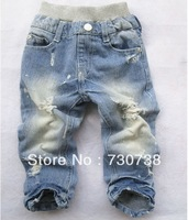 15 Free shipping New Boys' Jeans baby Holes Jeans baby pants Boy's Jeans Cowboy pants trousers wholesale and retail