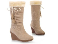 2013 winter snow boots high-heeled wedges tassel medium-leg bow boots thermal cotton-padded shoes