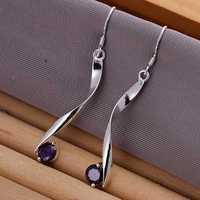 Lose Money!!Wholesale 925 Silver Earring,925 Silver Fashion Jewelry Twisted Purple Stone Earrings SMTE186