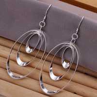 Lose Money!!Wholesale 925 Silver Earring,925 Silver Fashion Jewelry Triple Round Plate Earrings SMTE180