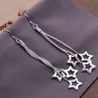 Lose Money!!Wholesale 925 Silver Earring,925 Silver Fashion Jewelry Triple Hollow Star Earrings SMTE161