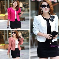 1502 New Fashion 2013 Autumn Women's Slim OL Elegant Double Breasted Short Design Plus Size Blazer Ladies Casual Suit Outerwear