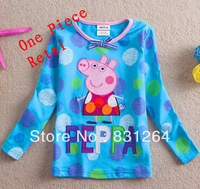 Free Shipping New Arrival Nova Kids Children's Peppa Pig Clothing 100%Cotton Fashion Girl Cartoon Polka Dot Sweatshirt 2-6Years