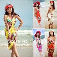Sexy Summer Fashion Bohemia Deep V Wrap Chiffon Open Back Swimwear Bikini Cover Up Beach Dress