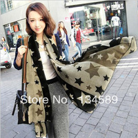 Wholesale Free Shipping Autumn And Winter Ultra Long Scarf Velvet Chiffon Silk Scarf Five-pointed Star Pattern Scarf