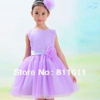 Retail 1Pcs 5 colors 2014 new Kids dress girls Princess dress soft chiffon bowknot summer dresses for wedding free shipping