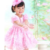 Retail 1Pcs 2015 baby girls Princess dress 3D flowers flower girl dress quality tank dress wedding free shipping