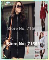 2014 Autumn Slim Plus Size Women Full Sleeve Knee-Length OL Turtleneck Zipper Cotton Dress S/M/L/XL Red/Black/Gray WD-9412