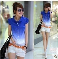 Hot sale 2014 New fashion summer gradient color puff sleeve cute shirt loose fresh short-sleeve cheap women gradient shirts Blue