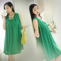 2013 New fashion summer autumn style Pleated Knee length Loose comfortable Chiffon Free waistband Garvida Lady dress