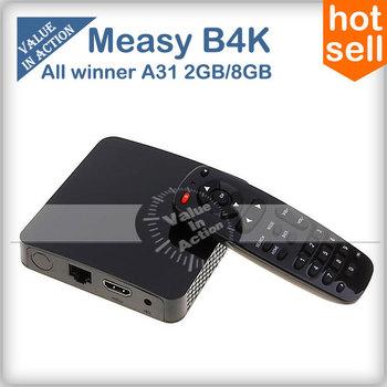 [Free Remote Control] Measy B4K Allwinner A31 Quad Core TV Box Android 4.2 OS Mini PC 2G/8G Bluetooth 2.0MP Camera MIC 4K Video