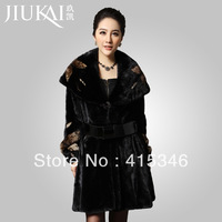 Free Shipping 2013 women's winter mink marten velvet with a hood fur overcoat women's fur coat