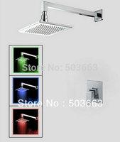 LED Wholesale Bathroom Luxury Chrome Rain Shower Head Arm Set Faucet With Handy Unit Tap S-645