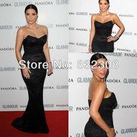 Customize Kim Kardashian Black Lace V-Neck Mermaid Celebrity Dresses Red Carpet Dresses