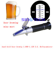 Free shipping hand held wine wort  beer brewing 1.000-1.130 S.G.  brix 0-32% refractometer RSG-100ATC