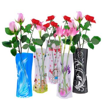 100% Brand new 10 pcs/ lot Beautiful Fordable Flower Vase DIY PVC Vase Home Decoration - Random Color  Free shipping